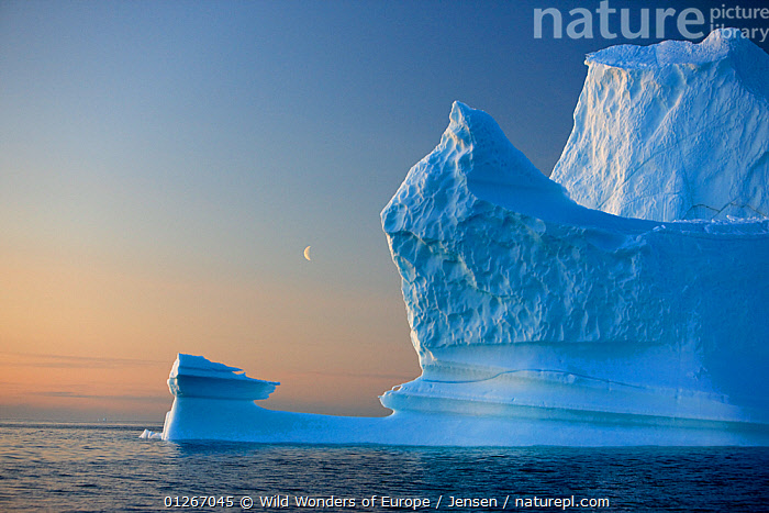 Iceberg, Disko Bay, Greenland, August 2009.  ,  ARCTIC,BLUE,DISCOBAY,EUROPE,GREENLAND,ICEBERGS,KAI JENSEN,LANDSCAPES,MOON,WWE  ,  Wild Wonders of Europe / Jensen