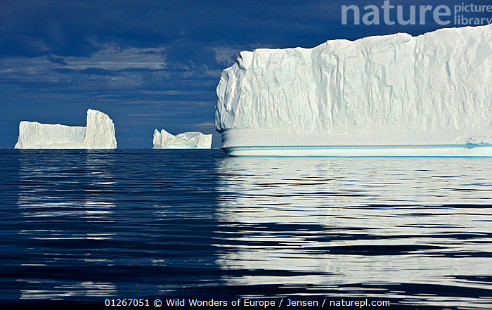 Icebergs, Disko Bay, Greenland, August 2009  ,  ARCTIC,DISCOBAY,EUROPE,GREENLAND,ICEBERGS,KAI JENSEN,LANDSCAPES,REFLECTIONS,THREE,WHITE,WWE  ,  Wild Wonders of Europe / Jensen