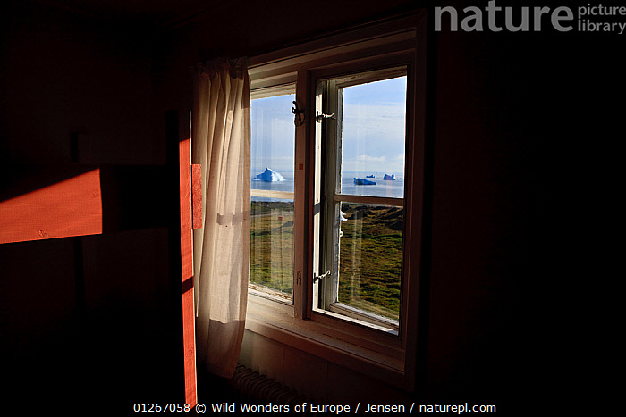 View through  window to the coast with icebergs on the sea, Qeqertarsuaq, Discobay, Greenland, August 2009  ,  ARCTIC,COASTS,EUROPE,GREENLAND,ICEBERGS,KAI JENSEN,LANDSCAPES,WWE  ,  Wild Wonders of Europe / Jensen