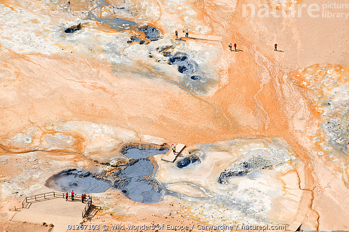 Aerial view of tourists at Namafjall, geothermal area near Lake Myvatn, Northern Iceland, June 2009  ,  AERIALS,EUROPE,GEOTHERMAL,ICELAND,LANDSCAPES,MARK CARWARDINE,PEOPLE,TOURISM,WWE,Geology  ,  Wild Wonders of Europe / Carwardine