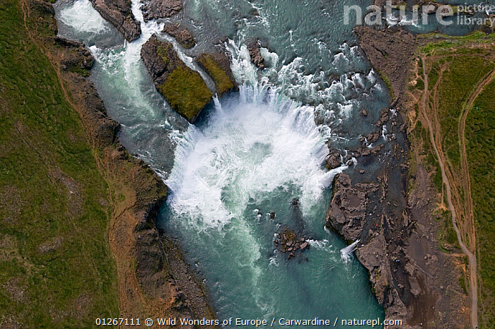 Aerial view of Godafoss waterfall on the Skjalfandafljot River, Northern Iceland, June 2009  ,  AERIALS,EUROPE,ICELAND,LANDSCAPES,MARK CARWARDINE,RIVERS,WATERFALLS,WWE  ,  Wild Wonders of Europe / Carwardine