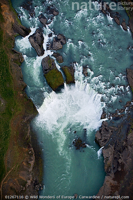 Aerial view of Godafoss waterfall on the Skjalfandafljot River, Northern Iceland, June 2009  ,  AERIALS,EUROPE,ICELAND,LANDSCAPES,MARK CARWARDINE,RIVERS,ROCKS,VERTICAL,WATERFALLS,WWE  ,  Wild Wonders of Europe / Carwardine