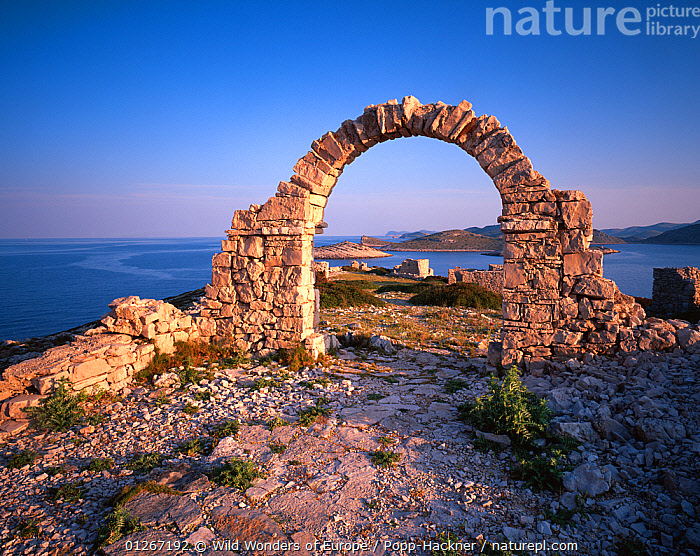 Ruins created for a film and left behind, Mana Island, Kornati National Park, Croatia, May 2009  ,  ADRIATIC SEA,ARCHES,COASTS,CROATIA,EASTERN EUROPE,EUROPE,ISLANDS,LANDSCAPES,MEDITERRANEAN,NP,RESERVE,VERENA POPP HACKNER,WWE,National Park  ,  Wild Wonders of Europe / Popp-Hackner