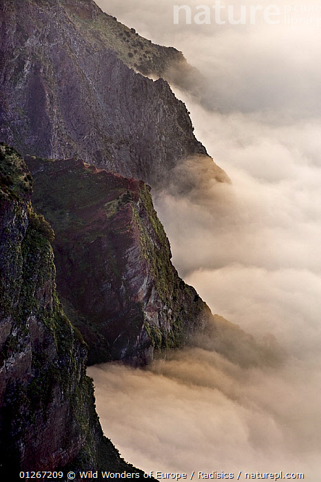 Low clouds below mountain cliffs, viewed from Pico do Arieiro, Madeira, March 2009  ,  CLIFFS,CLOUDS,EUROPE,LANDSCAPES,MILAN RADISICS,PORTUGAL,ROCKS,VERTICAL,WWE,Geology,Weather  ,  Wild Wonders of Europe / Radisics