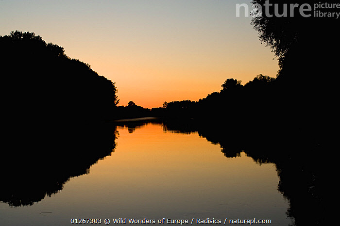 Tisza River at dusk, Hungary, June 2009  ,  EASTERN EUROPE,EUROPE,HUNGARY,LANDSCAPES,MILAN RADISICS,REFLECTIONS,RIVERS,SILHOUETTES,SUNSET,WWE  ,  Wild Wonders of Europe / Radisics