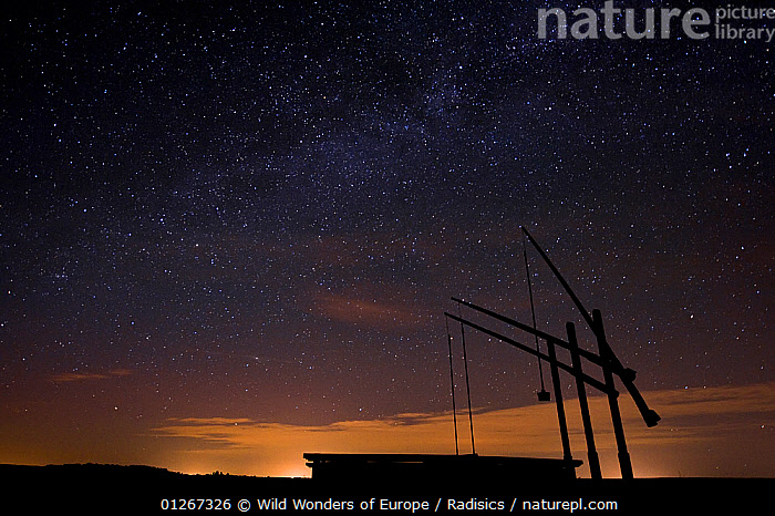 Water well on a starry night, Hortobagy National Park, Hungary, June 2009  ,  EASTERN EUROPE,EUROPE,HUNGARY,LANDSCAPES,MILAN RADISICS,NIGHT,NP,RESERVE,SILHOUETTES,SKY,STARS,WWE,National Park  ,  Wild Wonders of Europe / Radisics