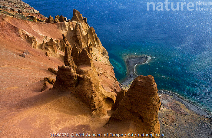Coastal cliffs, Deserta Grande, Desertas Islands, Madeira, Portugal, August 2009  ,  CLIFFS,COASTS,EUROPE,HIGH ANGLE SHOT,LANDSCAPES,NUNO S�,PORTUGAL,ROCK FORMATIONS,ROCKS,WWE,Geology  ,  Wild Wonders of Europe / Sá