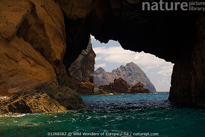Furadinho cave, regularly visited by Monk seal (Monachus monachus) with view of Bugio Island, Deserta Grande, Desertas Islands, Madeira, Portugal, August 2009  ,  ARCHES,CAVES,EROSION,EUROPE,GEOLOGY,LANDSCAPES,MARINE,NUNO S�,PORTUGAL,ROCKS,TEMPERATE,UNDERWATER,WWE  ,  Wild Wonders of Europe / Sá