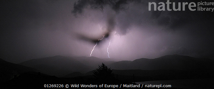 Thunder storm over the Galicica mountain range, Galicica National Park, Macedonia, June 2009  ,  CLOUDS,DAVID MAITLAND,EUROPE,LANDSCAPES,LIGHTNING,MACEDONIA,NP,PANORAMIC,RESERVE,STORMS,WWE,Weather,National Park  ,  Wild Wonders of Europe / Maitland