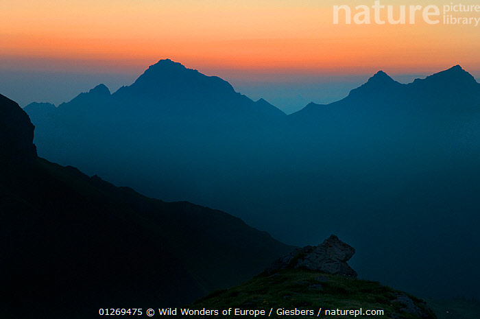 Mountains silhouetted at sunrise, from near the Pf�lzer H�tte, Liechtenstein, June 2009  ,  ALPINE,ALPS,BLUE,EDWIN GIESBERS,EUROPE,LANDSCAPES,LIECHTENSTEIN,MOUNTAINS,ORANGE,SILHOUETTES,SUNRISE,WWE  ,  Wild Wonders of Europe / Giesbers