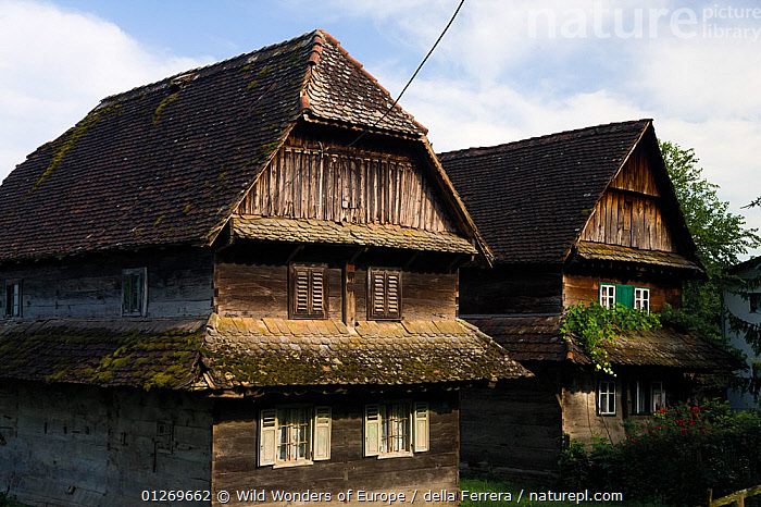 Traditional houses made from local Slavonian oak wood, Krapje village, Lonjsko Polje Nature Park, Sisack-Moslavina county, Slavonia region, Posavina area, Croatia, June 2009  ,  BUILDINGS,CROATIA,ELIO DELLA FERRERA,EUROPE,HOMES,RESERVE,TRADITIONAL,TWO,WWE  ,  Wild Wonders of Europe / della Ferrera