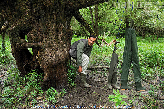 Photographer, Elio della Ferrera, with selection of waterproof boots /wellingtons and trousers Lonjsko Polje Nature Park, Croatia Bosnia and Herzegovina border, June 2009  ,  BOSNIA AND HERZEGOVINA,CROATIA,EASTERN EUROPE,ELIO DELLA FERRERA,EUROPE,LANDSCAPES,PEOPLE,PORTRAITS,RESERVE,SHOES,TREES,WETLANDS,WWE,PLANTS  ,  Wild Wonders of Europe / della Ferrera