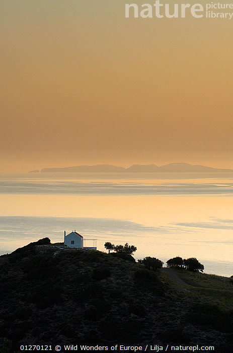 Church near the sea at dawn, near Mochlos, Crete, Greece, April 2009  ,  BUILDINGS,CHURCHES,EUROPE,GREECE,ISLANDS,LANDSCAPES,MEDITERRANEAN,PETER LILJA,SEA,SILHOUETTES,VERTICAL,WWE  ,  Wild Wonders of Europe / Lilja
