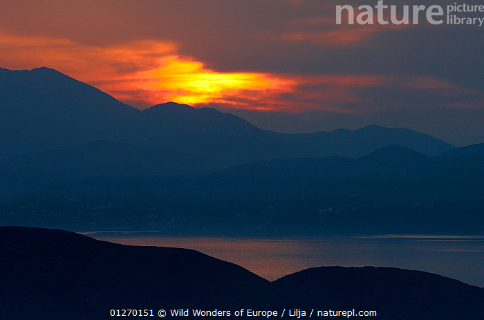 Sunset over Mochlos on the northeast coast of Crete, Greece, April 2009  ,  COASTS,EUROPE,GREECE,LANDSCAPES,MEDITERRENEAN,PETER LILJA,SILHOUETTES,SUNSET,WWE  ,  Wild Wonders of Europe / Lilja