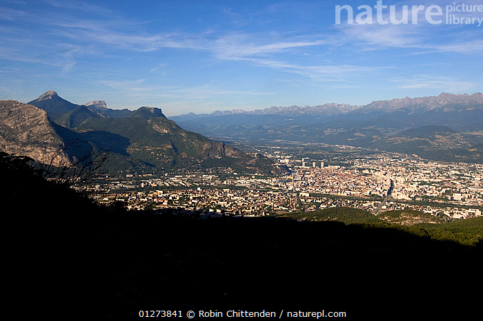 View of Grenoble, Vercors, France, July 2009  ,  ALPS,CITIES,EUROPE,FRANCE,LANDSCAPES,MOUNTAINS,TOWNS  ,  Robin Chittenden
