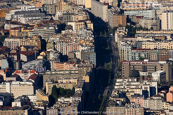 Aerial view of streets in Grenoble, Vercors, France, July 2009  ,  AERIALS,BUILDINGS,CITIES,EUROPE,FRANCE,LANDSCAPES,ROADS  ,  Robin Chittenden