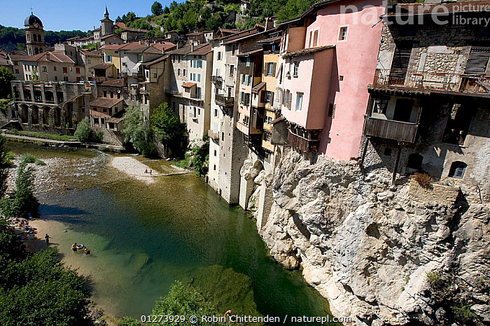 La Bourne River flowing past houses building around rock face, Pont-en-Royans, Vercors, France, July 2009  ,  BUILDINGS,EUROPE,FRANCE,GEOLOGY,HOMES,LANDSCAPES,PEOPLE,RIVERS,ROCK FORMATIONS,ROCKS,TOWNS  ,  Robin Chittenden