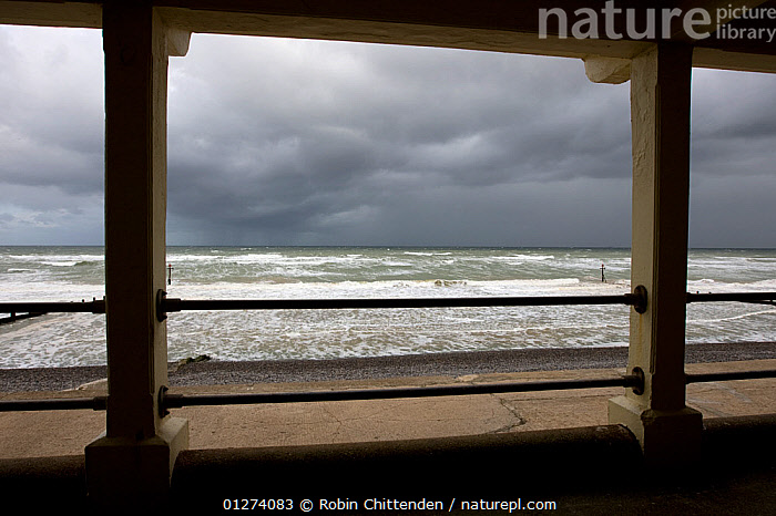Seawatching shelter, Sheringham, Norfolk, England, September 2007  ,  BEACHES,CLOUDS,COASTS,EUROPE,LANDSCAPES,SEA,UK,Weather,ENGLAND, United Kingdom  ,  Robin Chittenden
