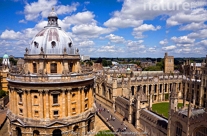 Radcliffe Camera and All Souls College, viewed from St Mary the Virgin Church, Oxford, UK. June 2009.  ,  ARCHITECTURE,BUILDINGS,CITIES,EUROPE,HIGH ANGLE SHOT,HISTORICAL,LANDSCAPES,LIBRARY,OLD,SUMMER,UK,UNIVERSITY, United Kingdom,Oxfordshire, United Kingdom  ,  Merryn Thomas