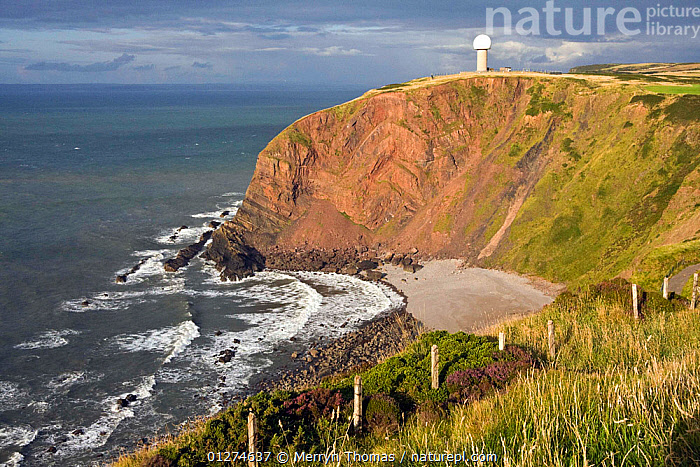 Radar Dome at Hartland Point, North Devon, UK, July 2009.  ,  BEACHES,BUILDINGS,CLIFFS,COASTS,EUROPE,FOLDED,GEOLOGY,LANDSCAPES,LANDSLIP,STRATA,UK, United Kingdom  ,  Merryn Thomas
