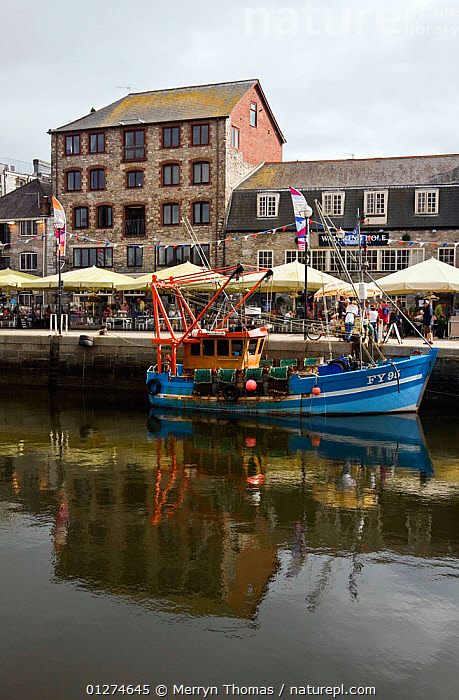 Fishing boat moored alongside quay in the historic Barbican, Plymouth, Devon. August 2009.  ,  BUILDINGS,CITIES,COASTS,EUROPE,FISHING BOATS,HARBOURS,HISTORICAL,LANDSCAPES,PROFILE,REFLECTIONS,TRAWLERS,UK,VERTICAL,BOATS, WORKING-BOATS , United Kingdom  ,  Merryn Thomas