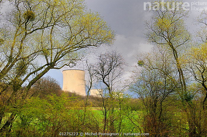 Cooling towers of Nuclear power station, Cattenom, France  ,  CHIMNEYS,COUNTRYSIDE,ELECTRICITY,ENERGY,ENVIRONMENTAL,EUROPE,FRANCE,LANDSCAPES,NUCLEAR,POLLUTION,SMOKE,STEAM  ,  Michel Poinsignon