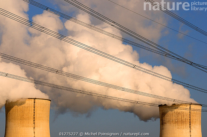 Electricity wires in front of cooling towers of Nuclear power station, Cattenom, France  ,  CHIMNEYS,ELECTRICITY,ENERGY,ENVIRONMENTAL,EUROPE,FRANCE,NUCLEAR,POLLUTION,SMOKE,STEAM  ,  Michel Poinsignon