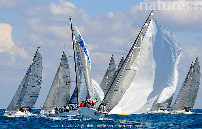 """Melges 32 fleet at the top mark, with """"Atlantica"""" leading. Miami Grand Prix, Florida, USA. March 2010., ACTION,BLOWING,FLEETS,FRONT VIEWS,MANOEUVRES,MELGES ,NORTH AMERICA,PROCEDURES,RACING,SAILING BOATS,SPINNAKERS,USA,YACHTS,SAILS ,BOATS ,SAILING-BOATS, Rick Tomlinson"""