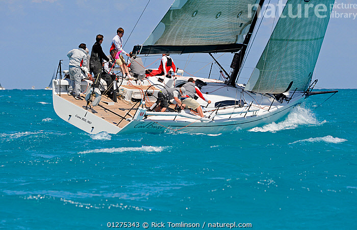"""IRC Mills 43 """"Cool Breeze"""" during the Miami Grand Prix, Florida, USA. March 2010.  ,  HEELING,NORTH AMERICA,RACES,SAILING BOATS,TURQUOISE,USA,YACHTS,BOATS  ,  Rick Tomlinson"""