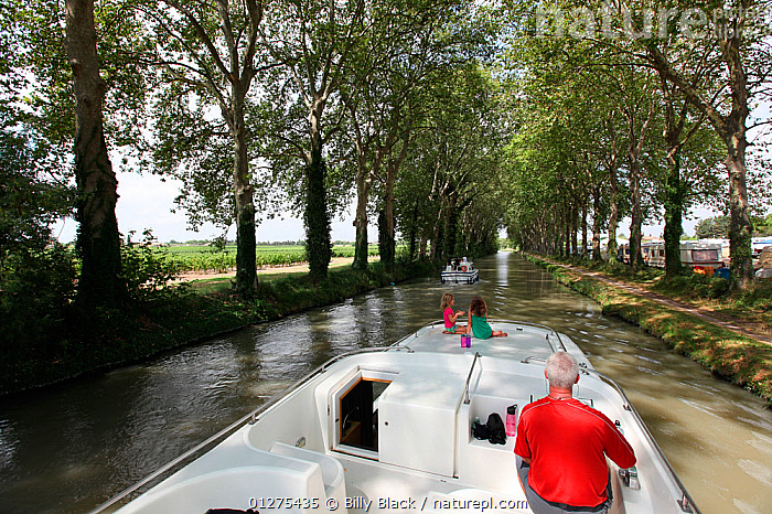 Family cruising on the Canal Du Midi near Capestang, Languedoc, France. July 2009. Model and property released.  ,  ABOARD,CANALS,CRUISING,EUROPE,FAMILIES,FRANCE,LANDSCAPES,LIFESTYLE,MOTORBOATS,TREES,BOATS  ,PLANTS,CONCEPTS ,core collection xtwox  ,  Billy Black