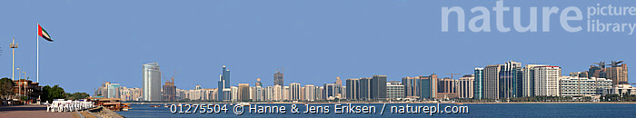 Abu Dhabi City, panorama from Marina area, composite, Abu Dhabi, UAE, October 2008  ,  ARABIA,ASIA,BUILDINGS,CITIES,COASTS,DIGITAL COMPOSITE,FLAGS,LANDSCAPES,PANORAMIC,SKY SCRAPERS,TOWERS  ,  Hanne & Jens Eriksen