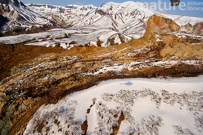 Aerial view of Kamchatka landslide, where on 3 June 2007 a massive landslide buried part of Kamchatka's Valley of the Geysers. Kronotsky Zapovednik, Kamchatka, Russia.  ,  ASIA,DISASTERS,ENVIRONMENT,GEOLOGY,LANDSCAPES,LANDSLIDE,MOUNTAINS,RESERVE,RUSSIA,SNOW,SUMMER,TUNDRA  ,  Igor Shpilenok