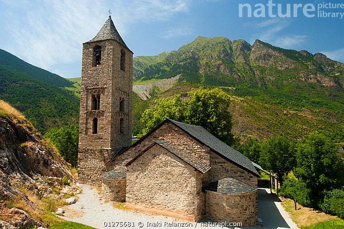 Santa Maria de Bo� Church, romanesque church from XII century, and UNESCO world heritage, in the Bo� Valley, Pyrenees, Lleida, Catalonia, Spain.July 2009  ,  BUILDINGS,CHURCHES,EUROPE,HIGHLANDS,LANDSCAPES,MOUNTAINS,PYRENEES,SPAIN  ,  Inaki Relanzon