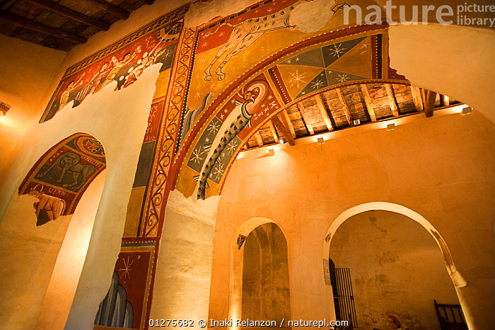 Mural inside the romanesque church of Sant Joan de Bo� (XII cenury), UNESCO world heritage, Bo� Valley, Pyrenees, Catalonia, Spain.July 2009  ,  ARCHITECTURE,ART,BUILDINGS,CHURCHES,EUROPE,INDOORS,LOW ANGLE SHOT,MURALS,PAINTINGS,SPAIN  ,  Inaki Relanzon