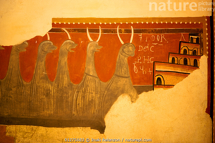 Section of  mural inside the romanesque church of Sant Climent de Taull (XII cenury), UNESCO world heritage, Bo� Valley, Pyrenees, Catalonia, Spain.July 2009  ,  ART,BUILDINGS,CHURCHES,CLOSE UPS,EUROPE,INDOORS,PAINTINGS,SPAIN  ,  Inaki Relanzon