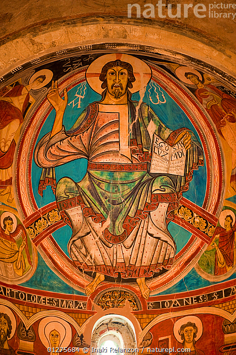 Mural of Christ Pantocrator inside the romanesque church of Sant Climent de Taull (XII cenury), UNESCO world heritage, Bo� Valley, Pyrenees, Catalonia, Spain. July 2009  ,  ART,CHURCHES,COLOURFUL,EUROPE,INDOORS,LOW ANGLE SHOT,MURALS,PAINTINGS,RELIGIONS,SPAIN,VERTICAL  ,  Inaki Relanzon