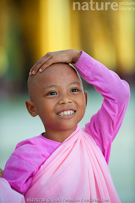 Portrait of a young Buddhist girl nun wearing pink robes in Bago, Myanmar / Burma.  August 2009  ,  ASIA,asian ethnicity,Bago,buddhism,buddhist,BURMA,burmese,Burmese ethnicity,CATALOGUE2,child,CHILDREN,CUTE,girl,hand on head,Myanmar,nun,Nuns,one person,optimism,PEOPLE,PINK,PORTRAITS,Religion,RELIGIONS,SMILING,SOUTH EAST ASIA,VERTICAL  ,  Inaki Relanzon