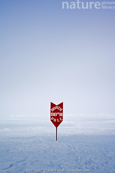 Sign showing the location of the North Pole, June 2008  ,  ARCTIC,capital letter,CATALOGUE2,clear sky,copyspace,english text,ICE,LANDSCAPES,lettering,location,Nobody,North Pole,outdoors,POLAR,RED,remote,sign,SIGNS,SNOW,sparse,TEXT,VERTICAL  ,  Sue Flood