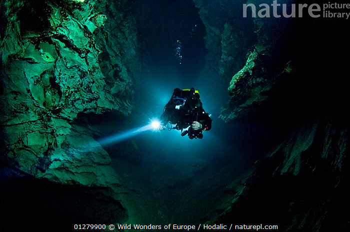 Cave diver, Matej Mihailovski, exploring the Moln�r J�nos cave under the city of Budapest, Hungary, May 2009  ,  ARNE HODALIC,CAVES,DIVING,EASTERN EUROPE,EUROPE,FRESHWATER,LANDSCAPES,UNDERGROUND,UNDERWATER,WWE  ,  Wild Wonders of Europe / Hodalic