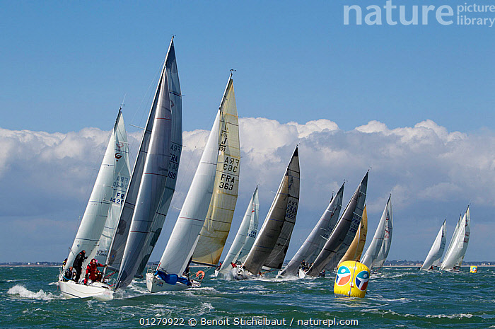 Rounding a mark at Spi Ouest-France, La Trinite sur Mer, Brittany, France. April 2010., EUROPE,FLEETS,FRANCE,MANOEUVRES,MARKERS,RACES,RACING,SAILING BOATS,YACHTS,NAVIGATION,BOATS, Benoit Stichelbaut
