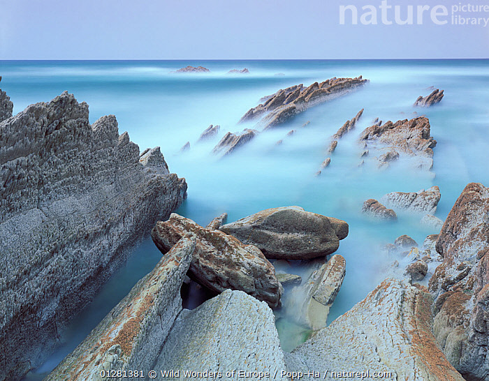Rock formations on Atxabiribil beach, Basque country, Bay of Biscay, Spain, October 2008, ATLANTIC,COASTS,EUROPE,LANDSCAPES,ROCK FORMATIONS,ROCKS,SEA,SPAIN,TIME EXPOSURE,VERENA POPP HACKNER,WWE,Marine, Wild Wonders of Europe / Popp-Ha
