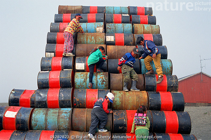 Inuit children playing on pile of empty oil drums. Moriussaq, Northwest Greenland, 1997.  ,  ARCTIC,CHILDREN,CLIMBING,ENVIRONMENTAL,EUROPE,FUEL,GREENLAND,GROUPS,OIL,OIL DRUMS,PEOPLE,PLAYING,REFUSE,RUBBISH,TRIBES  ,  Bryan and Cherry Alexander