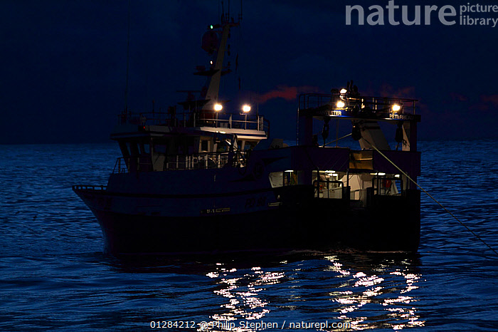 """Fishing vessel """"Harvester"""" trawling at twilight on the North Sea. February 2010, Property released.  ,  CALM,CATALOGUE2,DUSK,EUROPE,FISHING,fishing boat,fishing industry,FISHING BOATS,ILLUMINATED,LIGHTS,lit up,NIGHT,Nobody,North Sea,OCEAN,on the move,outdoors,PEACEFUL,REAR VIEWS,sea,SILHOUETTES,trawler,TRAWLERS,twilight,WATER,BOATS,WORKING-BOATS ,core collection xtwox  ,  Philip Stephen"""