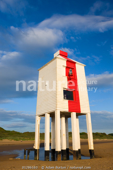 Wooden lighthouse on stilts on the sand beach at Burnham-on-Sea, Somerset, England. May 2009  ,  BEACHES,COASTS,EUROPE,LIGHTHOUSES,STILTS,TRADITIONAL,UK,VERTICAL,BUILDINGS ,ENGLAND, United Kingdom  ,  Adam Burton