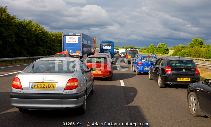 Summer traffic jams on M4 motorway, Wiltshire, England. June 2009  ,  CARS,EUROPE,HOLIDAYS,ROADS,SUMMER,TOURISM,TRAFFIC,TRAVEL,UK,VEHICLES,Concepts, United Kingdom  ,  Adam Burton