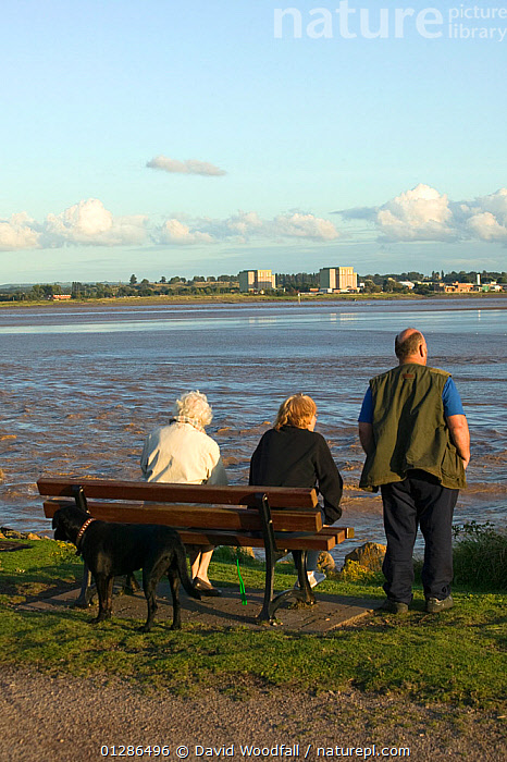 Tourists / local residents enjoying views of the Severn Estuary. Berkeley nuclear power station in background. England, August 2009  ,  BENCHES,CLIMATE CHANGE,ENVIRONMENTAL,ESTUARIES,EUROPE,HOLIDAYS,LANDSCAPES,LEISURE,PEOPLE,RESTING,RIVERS,TIDES,TOURISM,UK,VERTICAL,VIEWS,WALKING,WATER,Concepts, United Kingdom  ,  David Woodfall