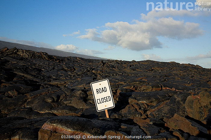 Lava flow over the Chain of Craters Road, with road closed sign, Hawai'i Volcanoes National Park. The Big Island of Hawaii, USA, December 2008  ,  BLOCKAGE,LANDSCAPES,NP,PACIFIC ISLANDS,ROADS,SIGNS,TOURISM,VOLCANOES,National Park,North America,Geology  ,  Kirkendall-Spring