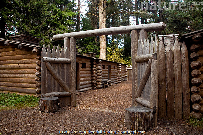A replica of the fort in Fort Clatsop built by the Corps of Discovery to winter over along the Oregon Coast. Oregon, USA, November 2009  ,  FORTS,HISTORICAL,NORTH AMERICA,WOOD  ,  Kirkendall-Spring