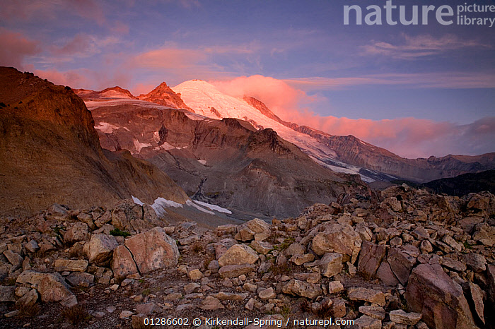 Sunrise along the Wonderland Trail near Panhandle Gap in Mount Rainier National Park. Washington, USA, August 2009  ,  DAWN,LANDSCAPES,MOUNTAINS,NORTH AMERICA,NP,ROCKS,SUNRISE,National Park  ,  Kirkendall-Spring