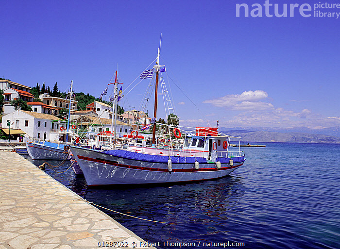 Boats moored at Kassiopi village habour, Corfu, Greece, May 1994  ,  BLUE,BOATS,COASTS,EUROPE,GREECE,HARBOURS,LANDSCAPES,MEDITERRANEAN,MOORED,SAILING BOATS,TRADITIONAL,VILLAGES,core collection xtwox  ,  Robert Thompson